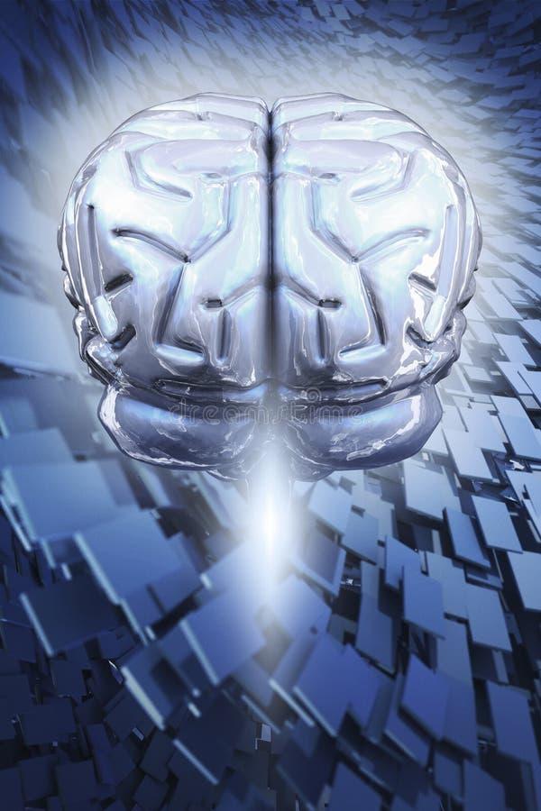 Cerebro en fondo abstracto   stock de ilustración