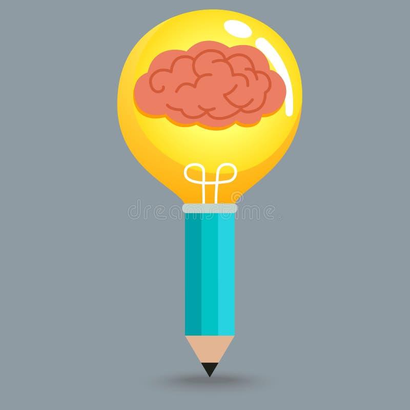Cerebro en lápiz de la bombilla ilustración del vector