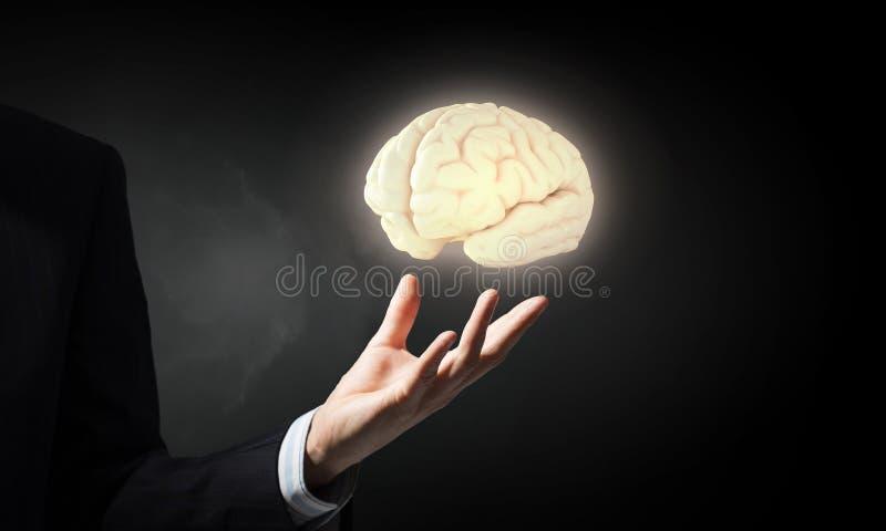 Cerebro en la mano masculina foto de archivo