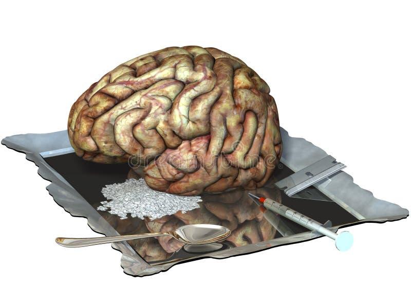 Cerebro en las drogas stock de ilustración