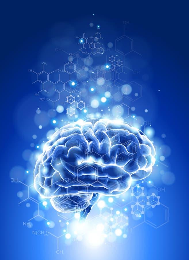 Cerebro, fórmulas químicas y luces stock de ilustración