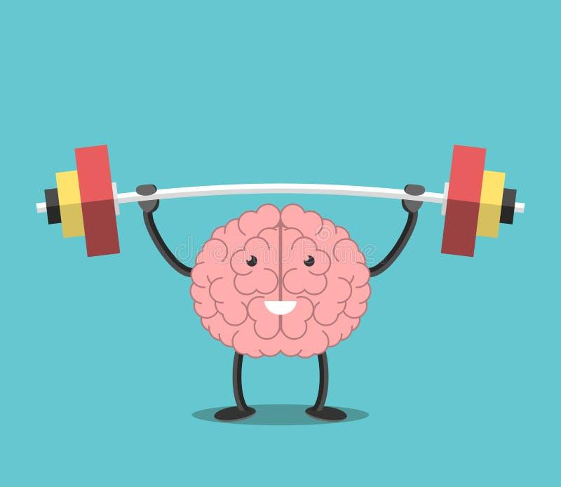 Cerebro fuerte con el barbell stock de ilustración