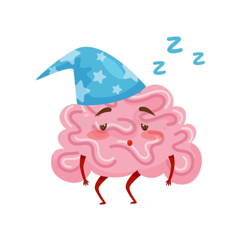 Cerebro humanizado cansado soñoliento en gorro de dormir azul Personaje de dibujos animados del órgano humano Icono plano del vec ilustración del vector