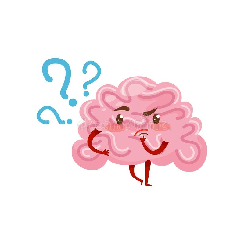 Cerebro humanizado rosado con la expresión pensativa de la cara Órgano humano Personaje de dibujos animados Vector para el app mó stock de ilustración