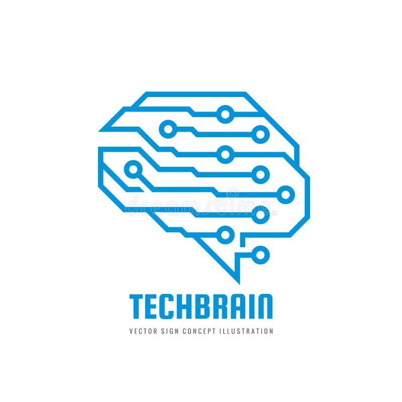 Cerebro humano abstracto - ejemplo del concepto de la plantilla del logotipo del vector del negocio Muestra creativa de la idea S ilustración del vector