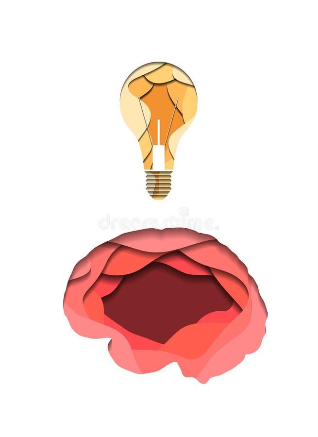 Cerebro humano acodado y bombilla cortados del documento sobre el fondo blanco Idea e innovaci?n Papiroflexia del corte del papel ilustración del vector