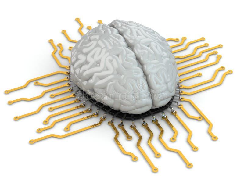 Cerebro humano como chip de ordenador. Concepto de CPU. libre illustration