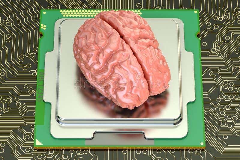 Cerebro humano con el procesador del ordenador, estafa de la inteligencia artificial libre illustration