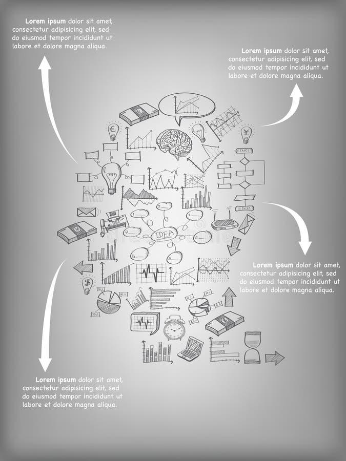 Cerebro humano creativo con idea creativa de los iconos del web del planeamiento del negocio, de la tecnología y de la estrategia libre illustration