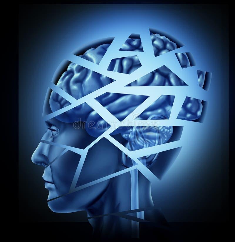 Cerebro humano dañado ilustración del vector