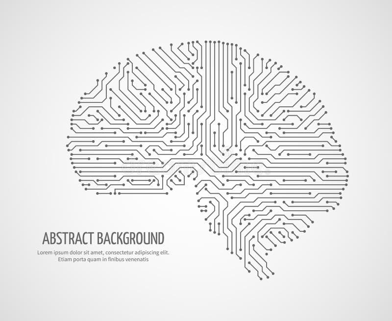 Cerebro humano de Digitaces con la placa de circuito del ordenador Concepto electrónico del vector de la tecnología de la medicin stock de ilustración