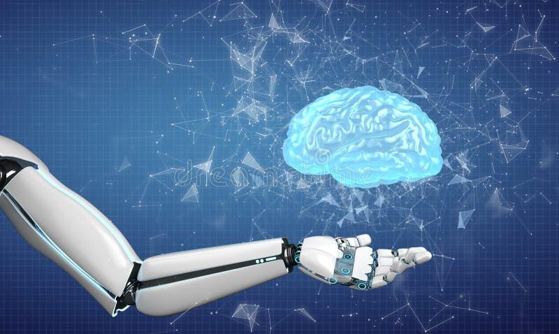 Cerebro humano de la mano del robot imágenes de archivo libres de regalías