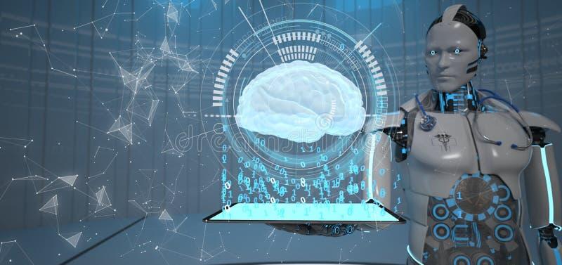 Cerebro humano de la tableta Humanoid del robot ilustración del vector