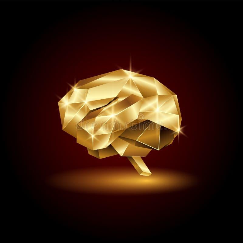 Cerebro humano de oro polivinílico bajo Órgano abstracto de la anatomía Cerebro del oro del polígono del vector 3D stock de ilustración