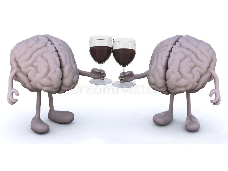 Cerebro humano dos con el vidrio de vino rojo ilustración del vector