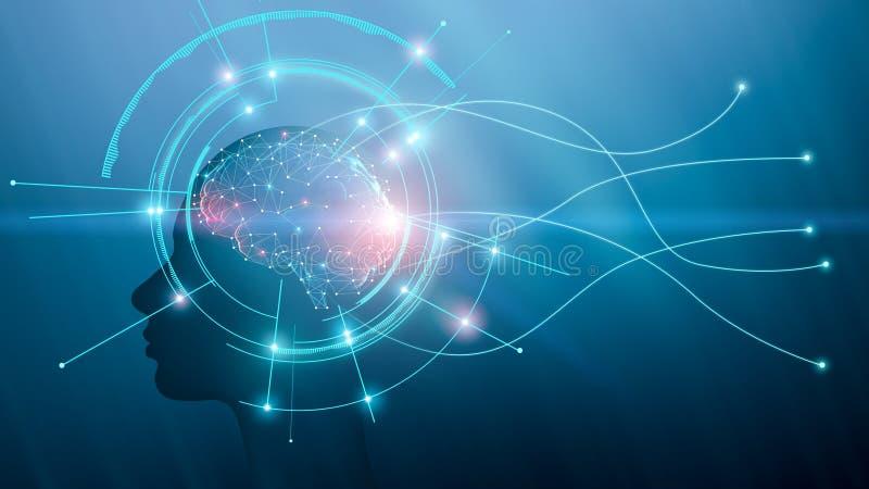 Cerebro humano en el cuerpo sintético, espacio libre stock de ilustración