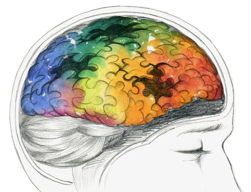 Cerebro humano enfermo stock de ilustración