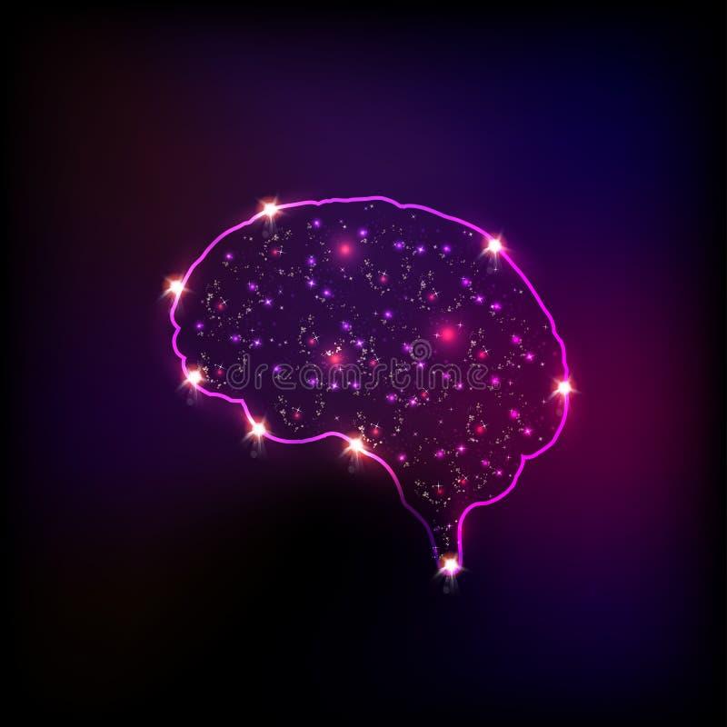 Cerebro humano ligero abstracto ilustración del vector