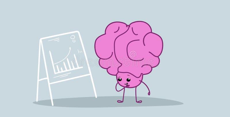 Cerebro humano que analiza el gráfico financiero en la carta de tirón que presenta la historieta del rosa del concepto de la pres ilustración del vector