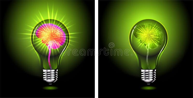 Cerebro humano que brilla intensamente dentro de bombilla ilustración del vector