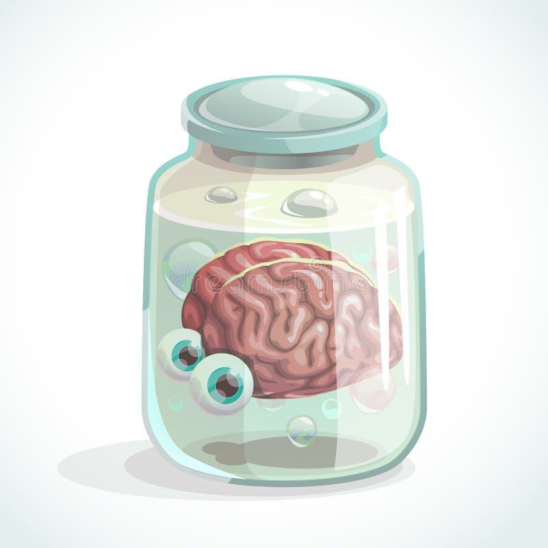 Cerebro humano y ojos en el tarro stock de ilustración