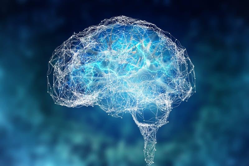 Cerebro humano y sus capacidades Visi?n conceptual - ejemplo 3D stock de ilustración
