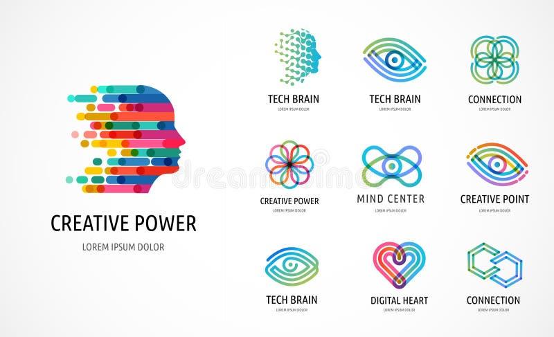 Cerebro, iconos creativos de la mente, del aprendizaje y del diseño, logotipos Sirva la cabeza, símbolos de la gente - vector com stock de ilustración