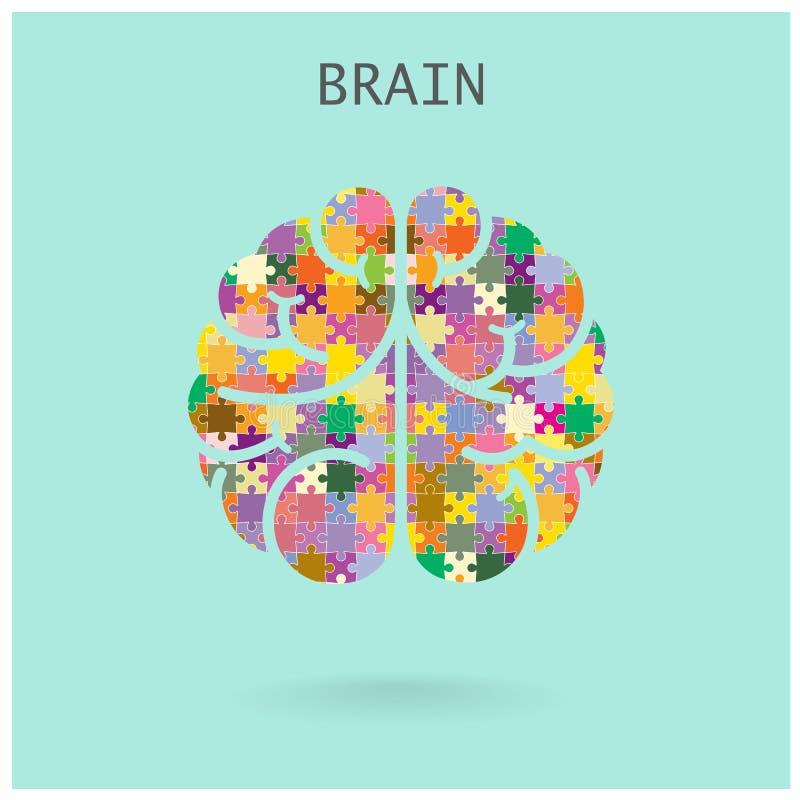 Cerebro izquierdo y derecho del rompecabezas creativo en el fondo, CCB abstracto ilustración del vector