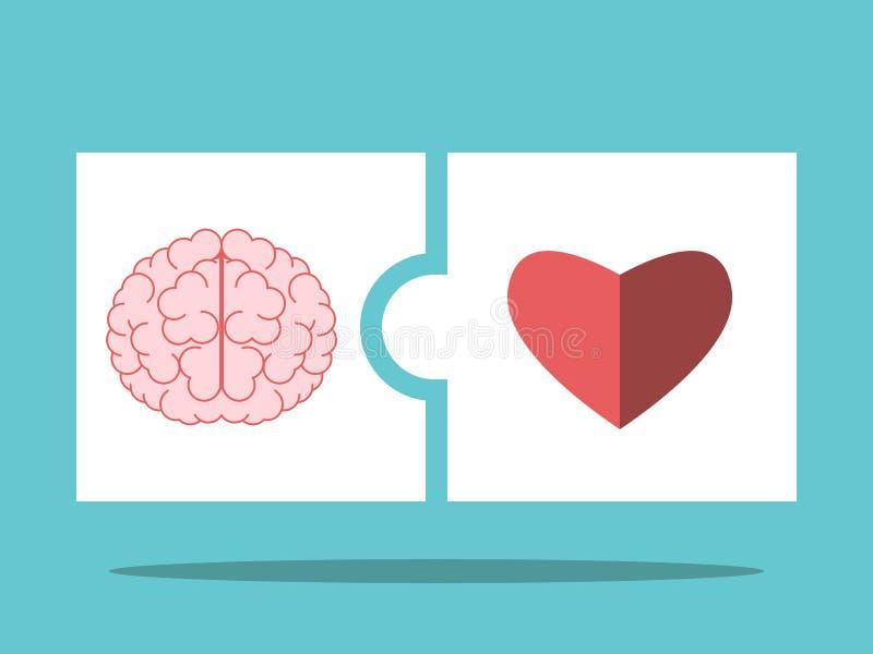 Cerebro, pedazos del rompecabezas del corazón stock de ilustración