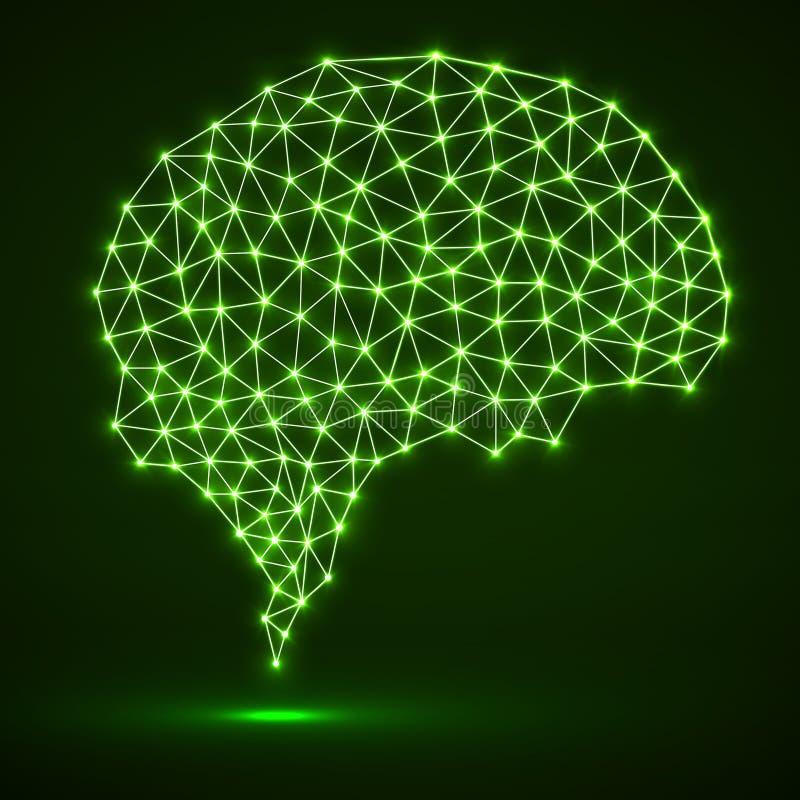 Cerebro poligonal abstracto con los puntos y las líneas que brillan intensamente stock de ilustración