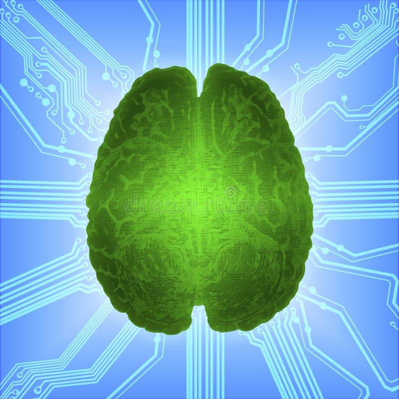 Cerebro que brilla intensamente atado con alambre sobre el microcircuito del ordenador Inteligencia artificial AI y concepto de a stock de ilustración