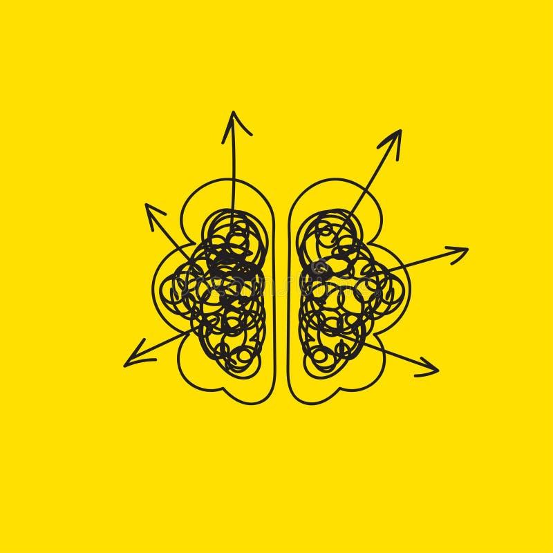 Cerebro que crea ideas stock de ilustración