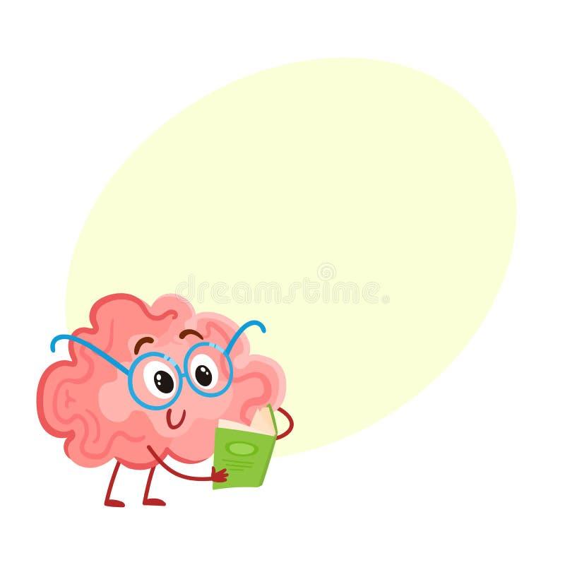 Cerebro sonriente divertido en los vidrios redondos que leen un libro stock de ilustración