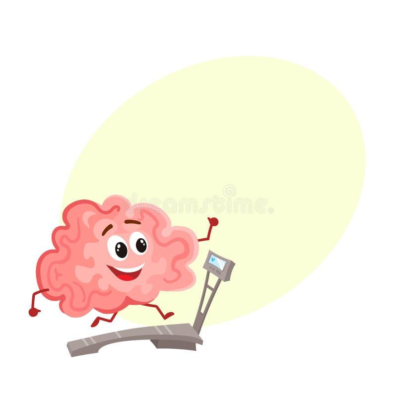 Cerebro sonriente divertido que corre en una rueda de ardilla stock de ilustración