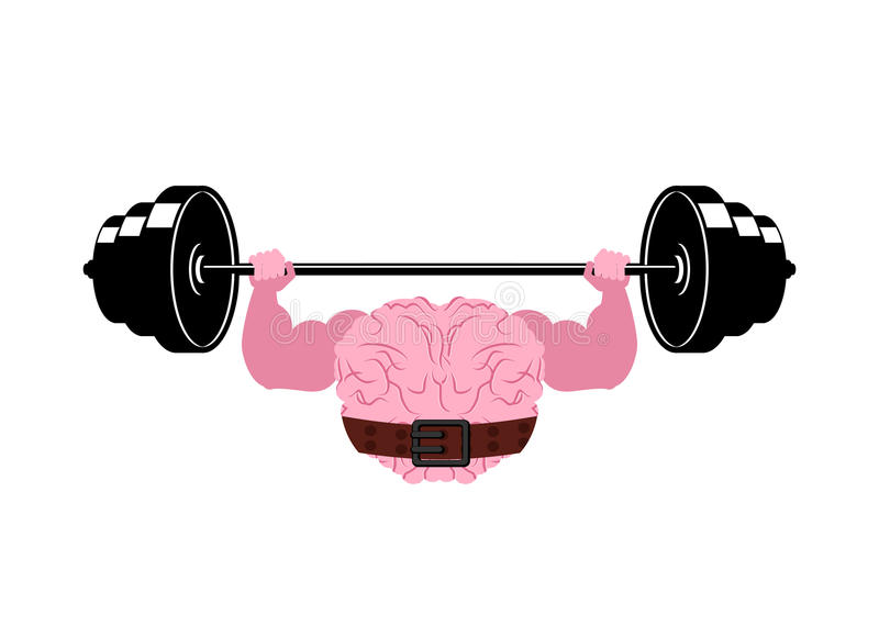 Cerebro y barbell fuertes Cerebros humanos bombeados potentes ilustración del vector