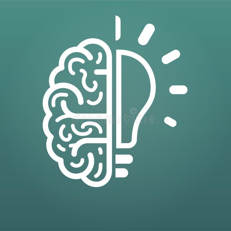 cerebro y bombilla, icono grande de la idea Ejemplo del vector aislado en fondo moderno ilustración del vector