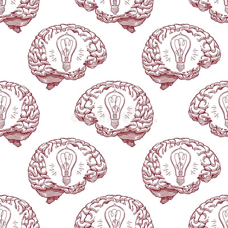 Cerebro y bombillas inconsútiles del bosquejo stock de ilustración