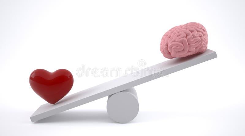Cerebro y corazón en una escala de la balanza ilustración del vector