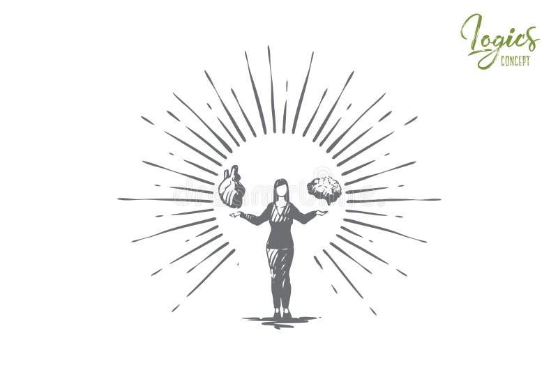 Cerebro y coraz?n de la tenencia de la persona, emoci?n creativa e idea del pensamiento libre illustration