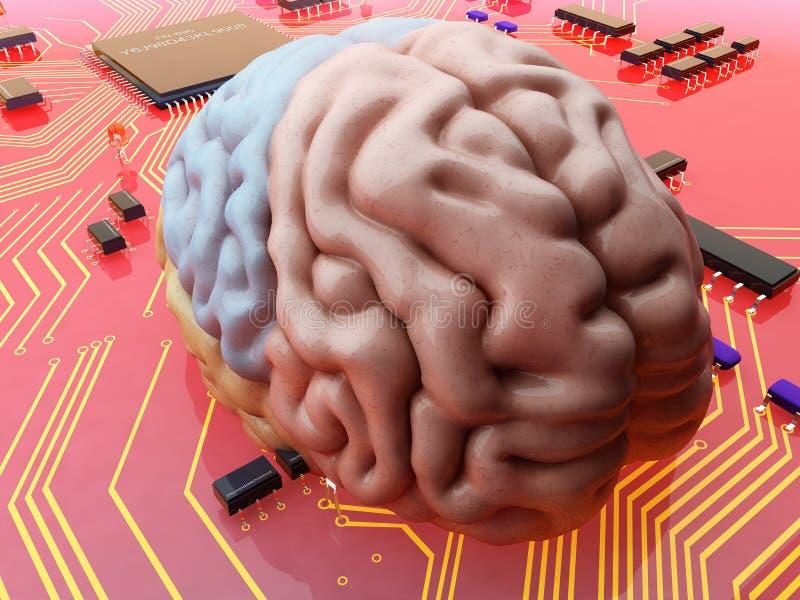 Cerebro y microprocesador stock de ilustración