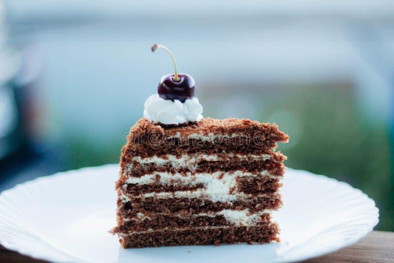 Cereja deliciosa do bolo das pinturas do bolo juicyly docemente foto de stock royalty free