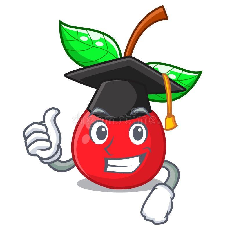 Cereja do fruto da graduação acima da tabela de madeira do caráter ilustração royalty free