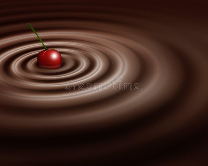 Cereja do whit do redemoinho do chocolate ilustração stock
