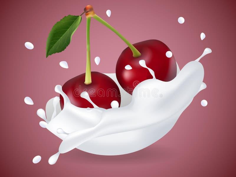 Cereja doce suculenta no respingo do leite ilustração do vetor