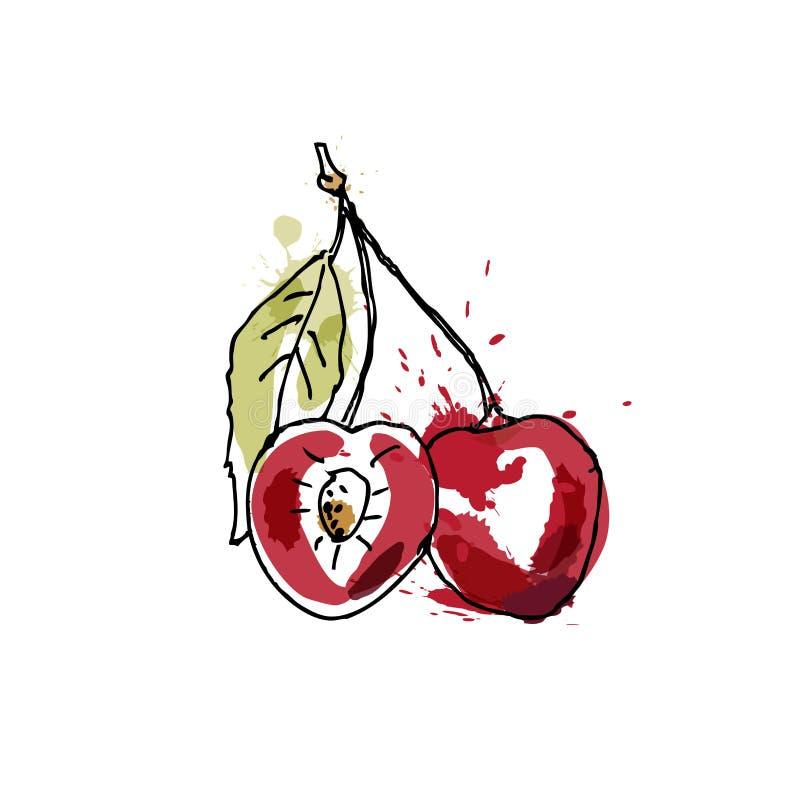 A cereja, tirando pela aquarela e pela tinta com pintura espirra no fundo branco ilustração do vetor