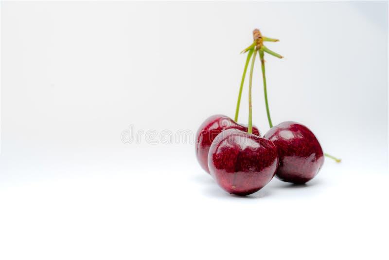 Cereja vermelha com caule isolado sobre fundo branco Cereja-doce-de-cereja Cereja orgânica doce e suculenta Frutas frescas para o foto de stock