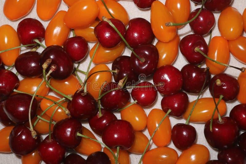 Cereja vermelha do fundo e tomates pequenos fotos de stock royalty free