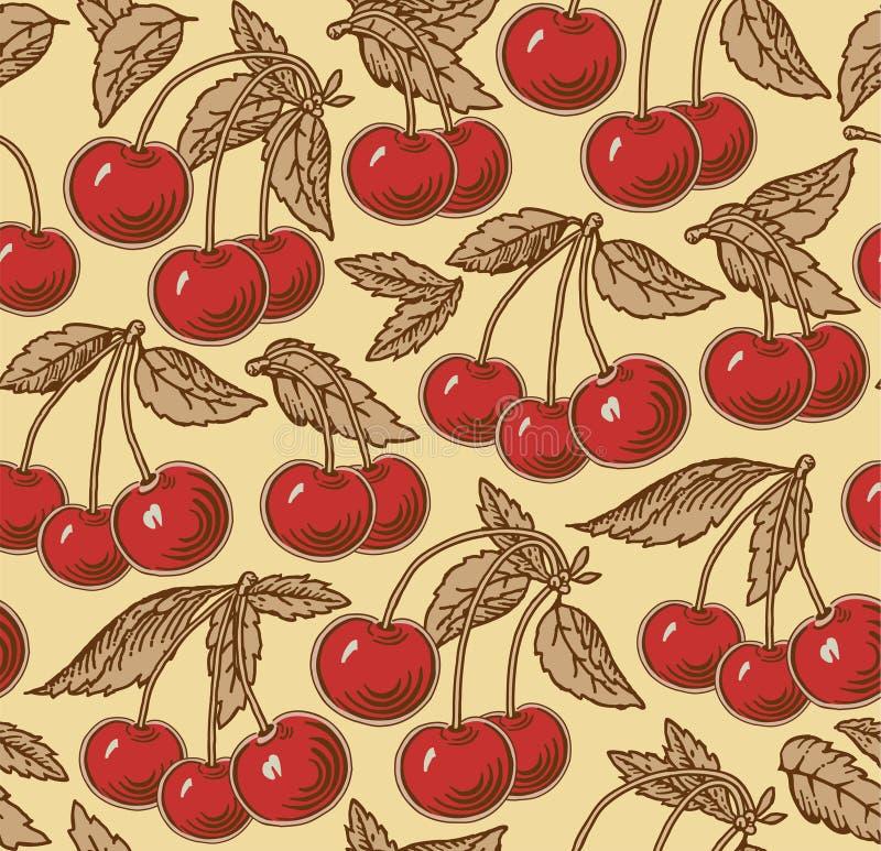 Cereja vermelha, madura, árvore isolada Gravura, desenho freehand flora Ilustração realística do vetor do vintage Fundo sem emend ilustração royalty free