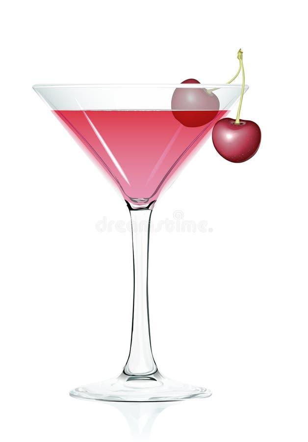 Cerejas do vidro de cocktail ilustração royalty free