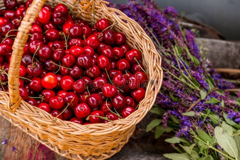 Cerejas frescas em um bascket de madeira ilustração stock